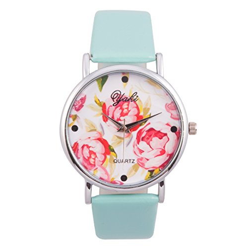 Yaki Damenuhr Mode Leder Blumenmuster Gedruckt Quarz Analog Kleid Floral Armbanduhr