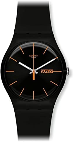 Swatch SUOB704 dark rebel black silicone strap black dial unisex watch NEW (Sport Swatch Men)