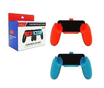 LeSB Nintendo Switch Mandos Joy-con Grips - [2 Paquetes] Handle Kits para Nintendo Switch Controlador, Rojo & Azul