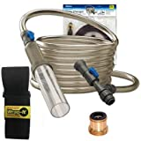 Aqueon Aquarium Water Changer with 25 ft Hose, Small Storage Strap & Python Brass Adaptor Bundle