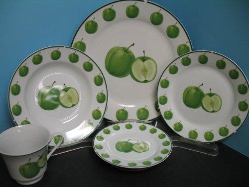 Amazon.com | Green apple Dinnerware dinner set 20 Pcs plates ...