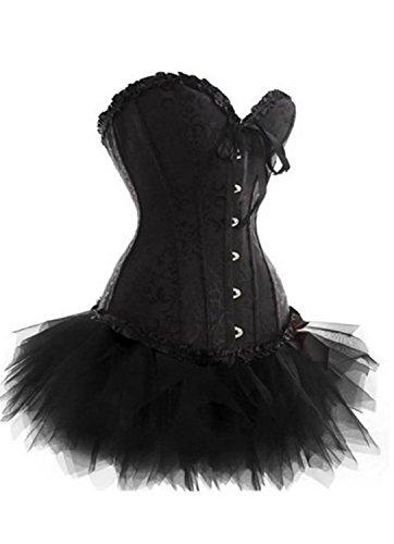 VDONA Plus Size S-6XL Black Lack up Clubwear Lingerie Floral Overbust Corset and Tutu (Moulin Rouge Costume Images)