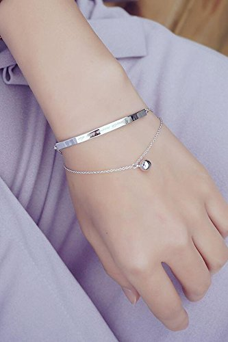 Generic Korean_style_of stylish white _ground_ simple _double_temperament_English_letters_orbs_multilayer_ bracelet bangle women girls _small_beauty_ student hand Ring ()