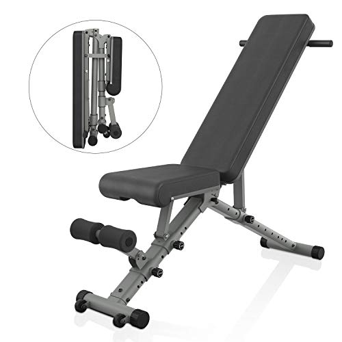BARWING Adjustable Weight Bench- 800 lbs Folding Full Body Workout Bench with Dragon Flag, Automatic Lock Multi-Purpose Incline/Flat/Decline Bench for Home Gym Strength Training Gray