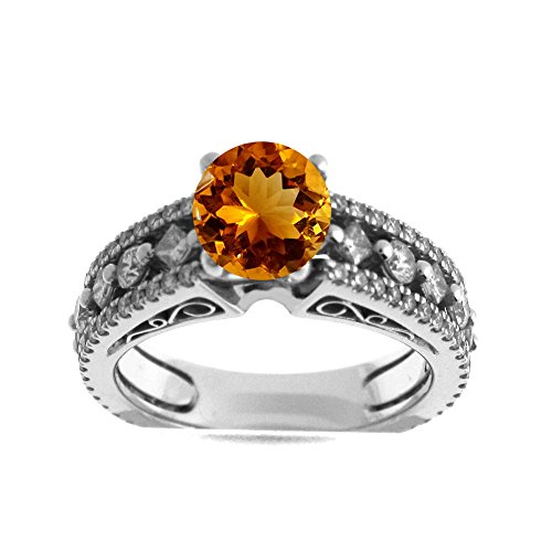 Diamond Ring Tdw Citrine - 14K White Gold 1.00ct TDW Diamond Engagement Ring With 3/4ct Citrine Round Center (G, SI1-VS2)