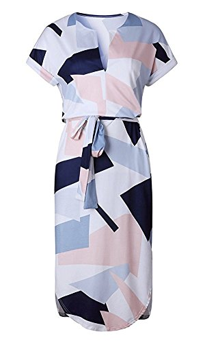 Women's Summer Casual V Neck Short Sleeve Midi Shirt Dress ,M