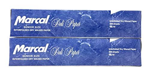 Marcal Deli Wrap Interfolded Wax Paper. Dry Waxed Food Liner Senior Size 10 Inch by 10.75 Inch. Total of 1000 Sheets. (2 Packs of 500 Sheets)
