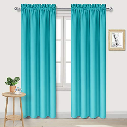 DWCN Blackout Curtains for Bedroom - Thermal Insulated Room Darkening Drapes for Living Room, Turquoise, W 42 x L 84 Inch, Set of 2 Rod Pocket Curtain Panels (Curtains Turquoise Light)