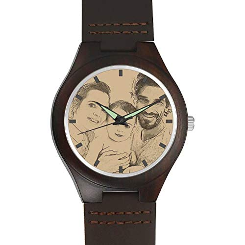 (Zhucha Mens Personalized Customized Wooden Watch - Photo Print On Watch Face and Back Engraving Personalized Gift Groomsmen Gift Boyfriend Father Wedding Anniversary for Men)