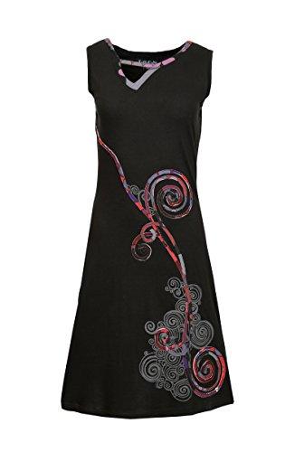 Verano de las mujeres Vestido sin mangas con colorido diseño espiral Imprimir Negro
