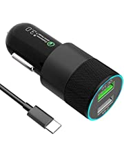 USB C Car Charger, Quick Charge 3.0+2.4A Dual Port 30W Fast USB Car Charger Adapter with 3FT/1M USB C Cable for Samsung Galaxy Note 9/S9/S9 Plus, Note 8/S8/S8 Plus,LG G5,G6,V20,V30