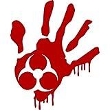 ProSticker 1263 (One) 10.1cm Zombie Series Red Blood Hand Biohazard Decal Sticker