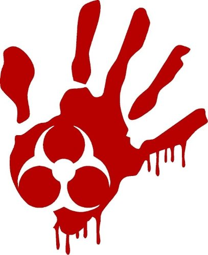"""ProSticker 1263/1264 (Two Pack, Right Hand and Left Hand) 4"""" Zombie Series Red Blood Hand Biohazard Decal Sticker"""