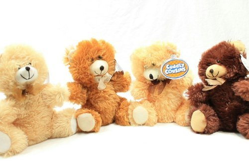 4 Cuddly Cousins Plush Sitting Stuffed Bears 7 Brown Tan Beige Rusty Copper