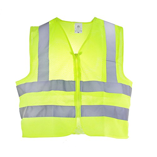 (TR Industrial T807 Neon Safety Vest with Front Zipper Mesh, X-Large, Yellow)