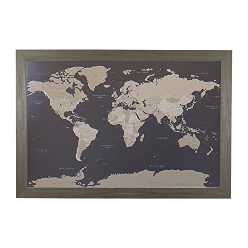 Push Pin Travel Maps Earth Toned World with Barnwood Gray Frame and Pins 24 x 36