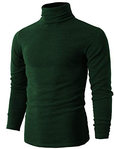H2H Mens Fashion Regular Fit Knitted Turtle Neck Thermal Sweaters GREEN US S/Asia L (KMTTL028) ()