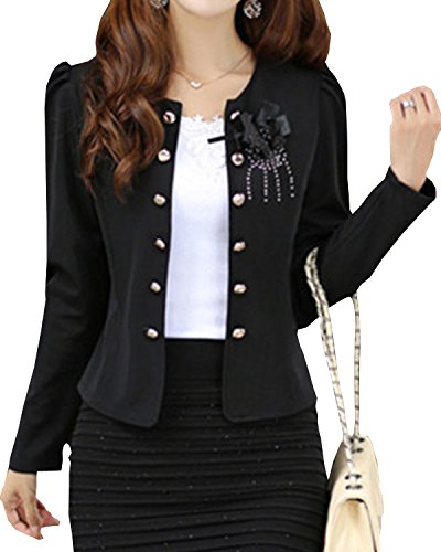 S&S Womens Casual Candy Puff Puff Sleeves Peplum Blazer Short Suit Coat Jacket