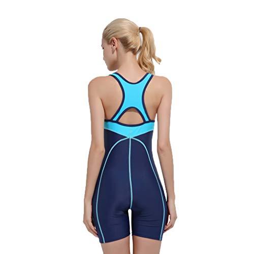 YEZIJIN Women Swimsuit Sexy One Piece Bodysuit Swimwear Professional Sport Bathing Suit Wetsuit top Long/Short Sleeve Dark Blue by Yezijin_Swimsuit (Image #2)