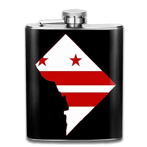 18/8 #304 Stainless Hip Flasks, Flag Map Of Washington DC 100% Leak Proof Shot Flask 7 Oz