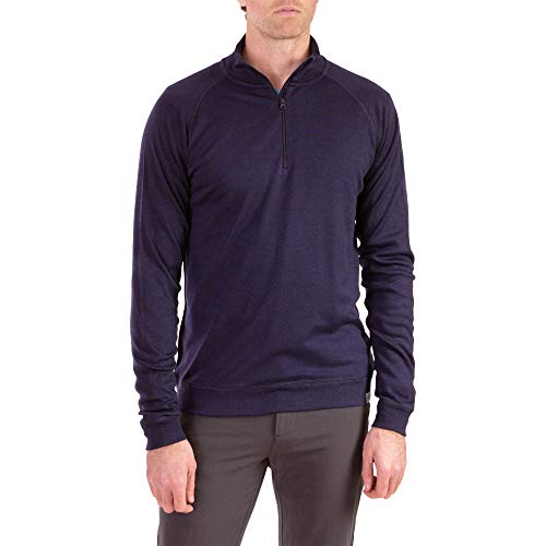 Woolly Clothing Men's Merino Pro-Knit Wool Quarter Zip Sweatshirt - Mid Weight - Wicking Breathable Anti-Odor - L NVY (Patagonia Merino Hooded Cardigan)