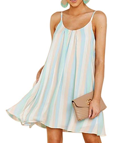 - Mingriya Women's Striped Print Dresses Sleeveless Flowy Chiffon Tunic Dresses (Blue Stripe, X-Large)