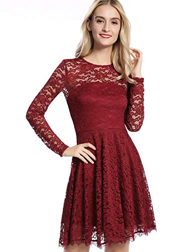 Women's Solid Color Pleated Skater Lace Dress Wine Red X-Large ()