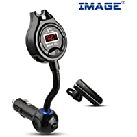 IMAGE® Bluetooth Headset with Car FM Transmitter [Protect Your Privacy]Bluetooth 4.0 Multipoint Handsfree Car Kit, Support 3.5mm Aux in, with Dual USB Charger(5V/2.1A) for iPhone Samsung...