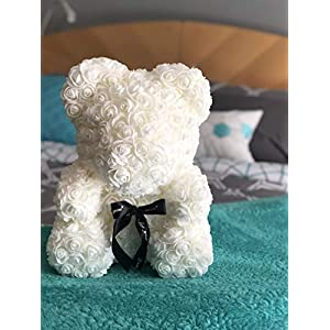 Rose Flower Bear - Fully Assembled 16 inch Hugz Teddy Bear - Over 20 Dozen Artificial Flowers - Best Gift for Mothers Day, Valentines Day, Anniversary, Bridal Showers (White) - w/Clear Gift Box 5