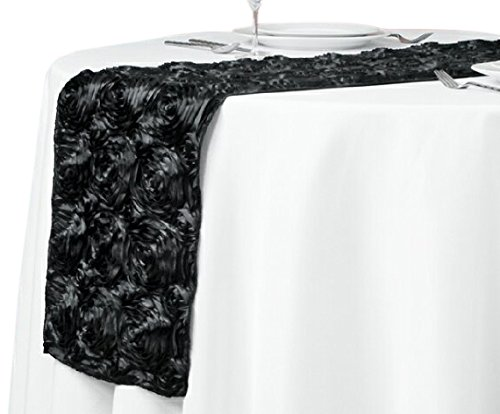 LinenTablecloth Rosette Satin Table Runner, 14 by 108-Inch, Black ()