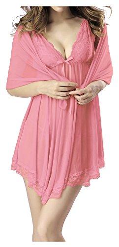 Fedo Design Women Jumpsuit BabyDoll Lace Lingerie Sleepwear Nightwear Teddy (Baby Doll Lingerie Pink)