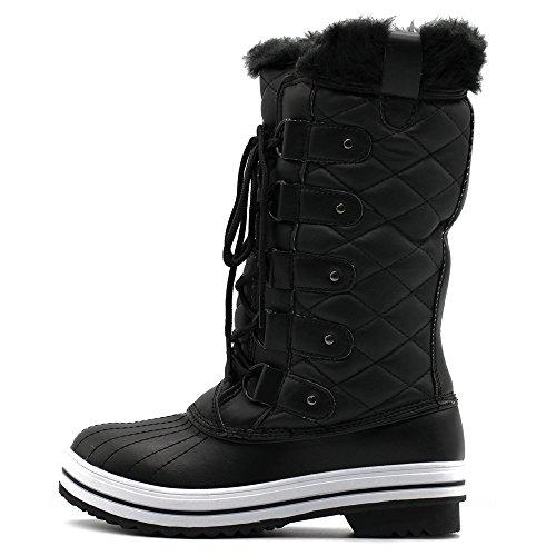 Snow Black Women's Duck Ollio Up Shoe Quilted Lace Fur Boots 1SURx7