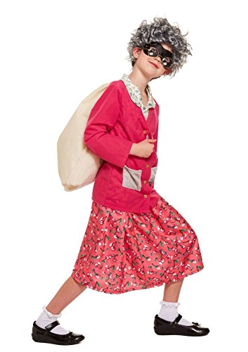 Rimi Hanger Childrens Gangster Grandma Fancy Costume Girls Old Nan Book Week Day Party Outfit Small (4-6 Years)