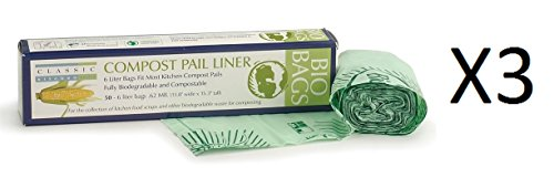(RSVP 100% Biodegradable Compostable Liners 50 Pack 6 Liters GMO Free)