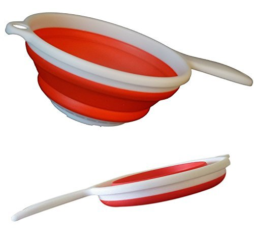 Silicone Cooking Colander - Premium Collapsible Colander, Strainer, Red, Silicone 1