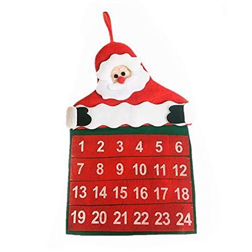 lightclub Calendario de Navidad con diseño de Papá Noel y Papá Noel, Rojo, 1