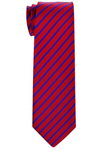Retreez Thin Regimental Striped Woven Boy's Tie (8-10 years) - Red with Navy Blue (Blue Stripe Silk Boys Tie)