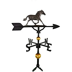 Montague Metal Products 32-Inch Deluxe Weathervane with Swedish Iron Horse Ornament