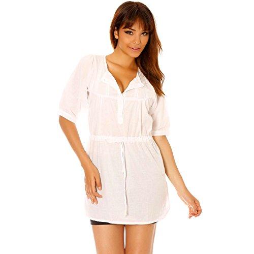 Miss Wear Line - Tunique blanche à boutons et serrage à la taille