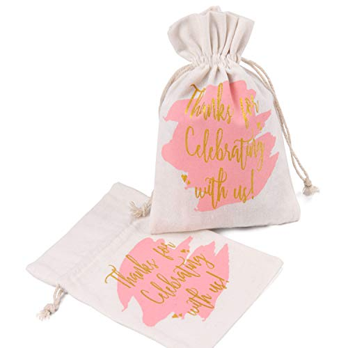 - WRAPAHOLIC 5x7 inch 10 pcs Burlap Drawstring Gift Bags - Pink Watercolor with Gold