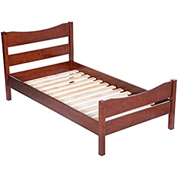 this item merax wood platform bed frame mattress foundation with headboard and wooden slat support twin walnut