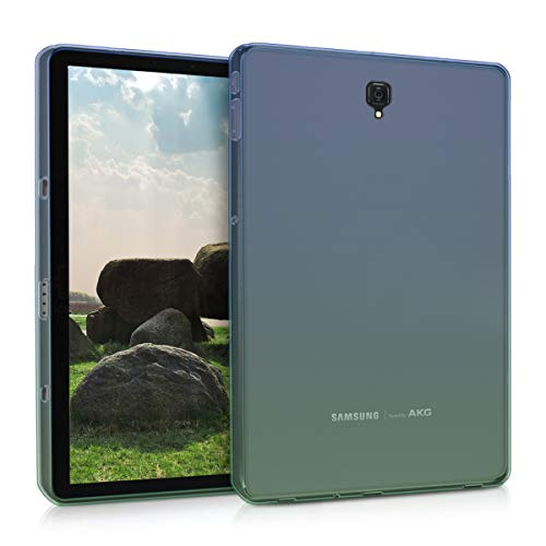 kwmobile TPU Silicone Case for Samsung Galaxy Tab S4 10.5 - Soft Flexible Shock Absorbent Protective Cover - Blue/Green/Transparent (Samsung Galaxy Tablet Gel Case)