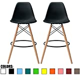 2xhome Set of 2 Black 25″ Seat Height DSW Molded Plastic Bar Stool Modern Barstool Counter Stools with Back Armless Side Natural Wood Eiffel Legs Dowel Kitchen Shell Mid Century Modern