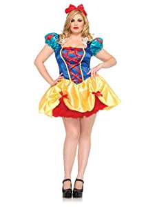 2PC. Fairy Tale Snow White Costume Set With Costume Set With Dress With Satin Bow Pick Up Detail And Matching Headband