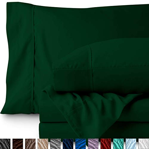 Bare Home Queen Sheet Set - 1800 Ultra-Soft Microfiber Bed Sheets - Double Brushed Breathable Bedding - Hypoallergenic - Wrinkle Resistant - Deep Pocket (Queen, Forest Green)