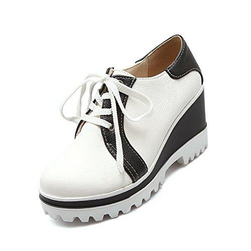 AgooLar Damen Hoher Absatz Rein Schnüren Pumps Schuhe, Armee-Grün, 42