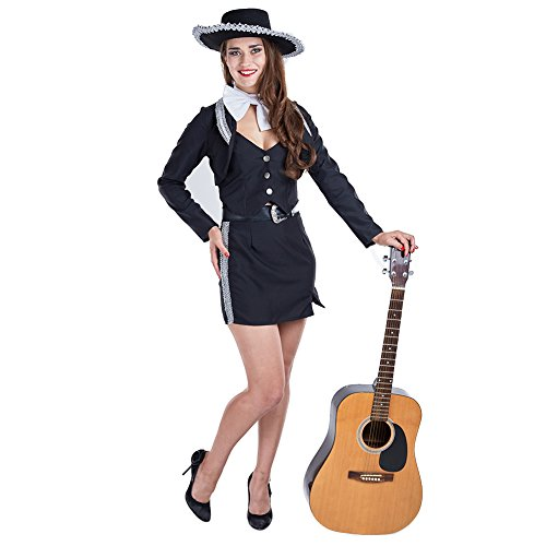 Charm Rainbow Women's Mariachi Costume Mexican Pop Star for Halloween Theme Party(L) Black,White -