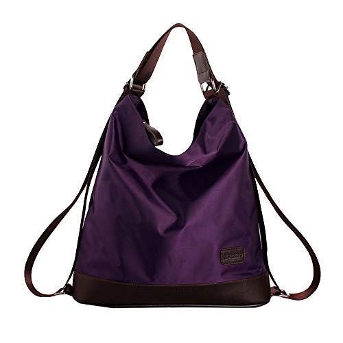 - Goodbag Boutique Women Waterproof Nylon Tote Handbag Girl Versatile Satchel Purse Messenger Shoulder Bag Purple