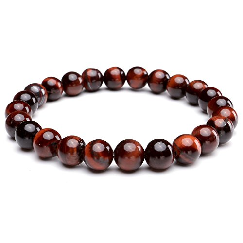Jovivi 8MM Natural Gemstone Healing Power Round Elastic Stretch Bracelet Variation Colors and Material