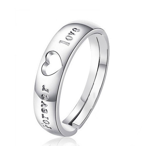 Fasherati Silver Plated Forever Love Zircon Heart Adjustable Ring For girls